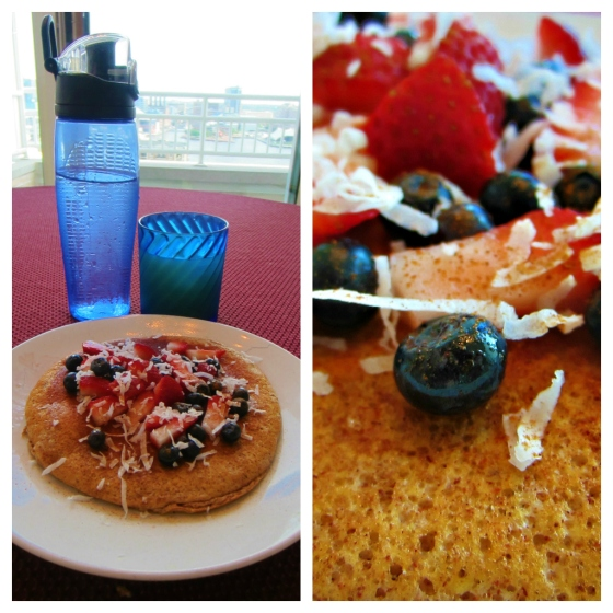 Barr & Table Tone It Up Pineapple Protein Pancake Maple Syrup Shredded Coconut Strawberries Blueberries Bombshell Spell