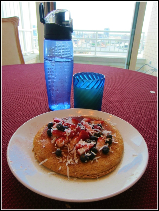 Barr & Table Tone It Up Zucchini Bread Protein Pancake Maple Syrup Shredded Coconut Strawberries Blueberries Bombshell Spell
