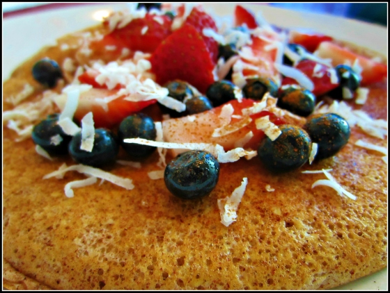 Barr & Table Tone It Up Zucchini Bread Perfect Fit Protein Pancake Maple Syrup Shredded Coconut Strawberries Blueberries Bombshell Spell