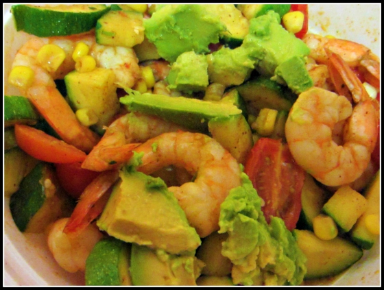 Barr & Table Tone It Up TIU Summer Shrimp Salad Tomato Corn Avocado Zucchini