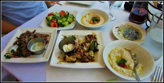 Barr & Table Lebanese Taverna Sunday Brunch Hummus Baba Ganoush Chicken Kabob Beef & Lamb Shwarma Cucumber Tomato Salad