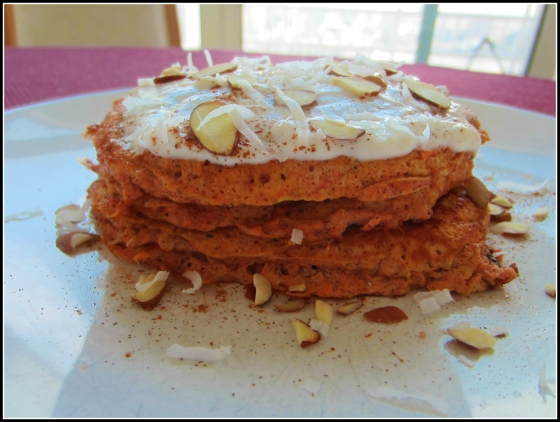 Barr & Table Carrot Cake Protein Pancakes About Time Cinnamon Swirl Whey Protein Powder Flax Cottage Cheese Egg White Cinnamon Almond Milk Agave Nectar Salt