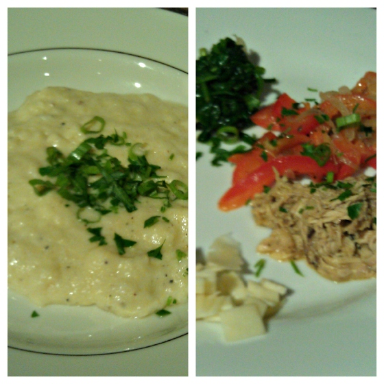 Barr & Table Innovative Gourmet Caterer Baltimore Maryland MD Polenta Shredded Chicken Roasted Bell Pepper Sauteed Spinach Smoked Gouda Bleu Blue Cheese