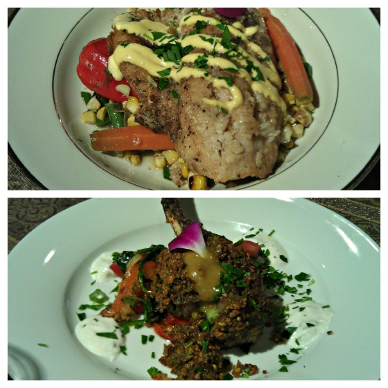 Barr & Table Innovative Gourmet Caterer Baltimore Maryland MD Brown Butter Rockfish Corn Carrots Red Pepper Green Beans Pistachio Crusted Lamb Tzatziki