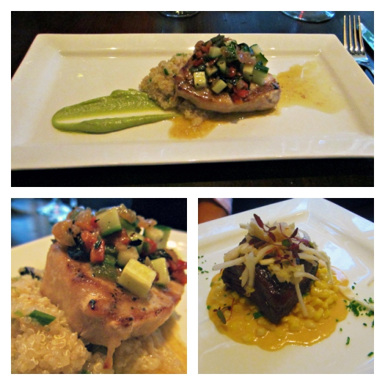 Barr & Table Baltimore Restaurant Week Maryland MD Salt Tavern Fells Point Grilled Swordfish Charred Gazpacho Vegetables Lemon Olive Quinoa Avocado Puree Crispy Creek Stone Farms Beef Belly Confit Ginger Glaze White Kimchi Asian Pears Spicy Sriracha Creamed Corn