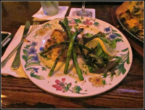 Annabel Lee Tavern Canton Baltimore Maryland MD Crab Cake Platter with Mashed Potatoes and Blackened Asparagus