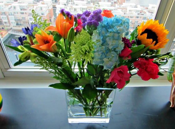 Barr & Table Birthday Flowers!