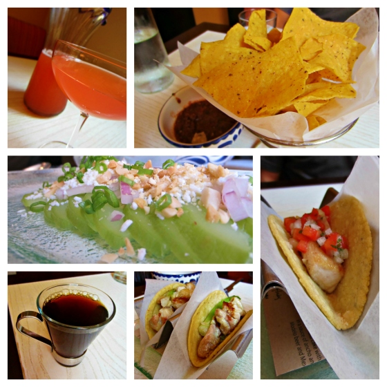 Oyamel Cocina Mexicana Jose Andres ThinkFoodGroup Washington DC Mimosas Chips Salsa Mexican Squash Salad Queso Fresco Peanuts Chicken Fish Tacos Guacamole Pico de Gallo Mexican Coffee