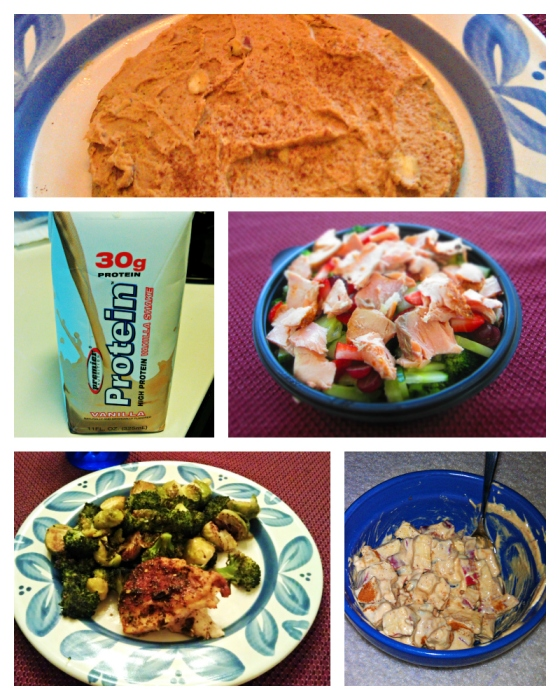 Barr & Table What I Ate Wednesday WIAW Peas and & Crayons Tone It Up TIU Pumpkin Protein Pancake Peanut Fluff Bombshell Spell Premier Protein Salmon Salad Chipotle Honey Lime Chicken Coconut Oil Roasted Brussel Sprouts Broccoli Chobani Apple Cinnamon