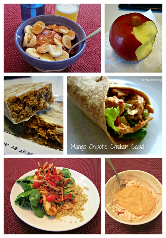 Barr & Table What I Ate Wednesday WIAW Peas and Crayons Chocolate Protein Coach's Oats Apple Mango Chipotle Chicken Salad Wrap Yogurt Peanut Crunch Premier Protein Skinnytaste Baked Chicken Milanese Quinoa PowerCakes Cottage Cheese Protein Plus Peanut Flour Fluff iHerb.com