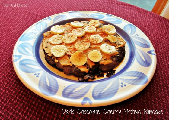 Barr & Table Foodie Friday Hersheys Dark Chocolate Cherry Protein Pancake