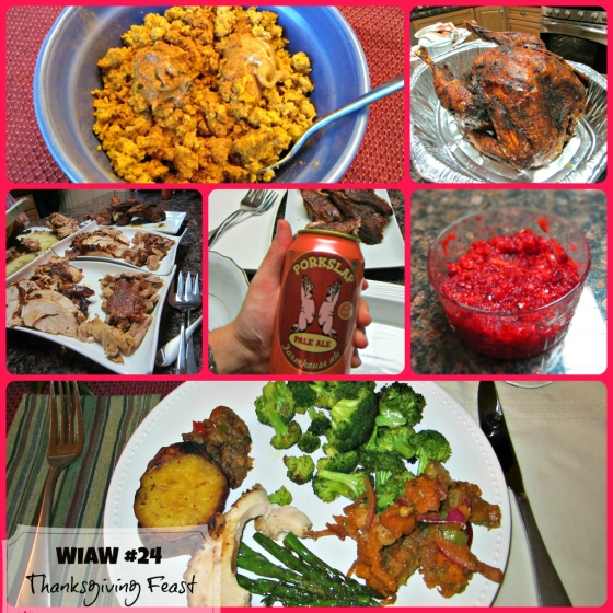 Thanksgiving Dinner Deep Fried Turkey Cranberry Relish Sausage Stuffing Sweet Potato Scramble Peanut Butter Butternut Squash Brussel Sprouts Asparagus Barr & Table Peas and Crayons What I Ate Wednesday WIAW