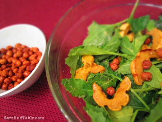 Barr & Table Baby Kale Salad Roasted Delicata Squash Chick Peas Lemon Dijon Vinaigrette Recipe