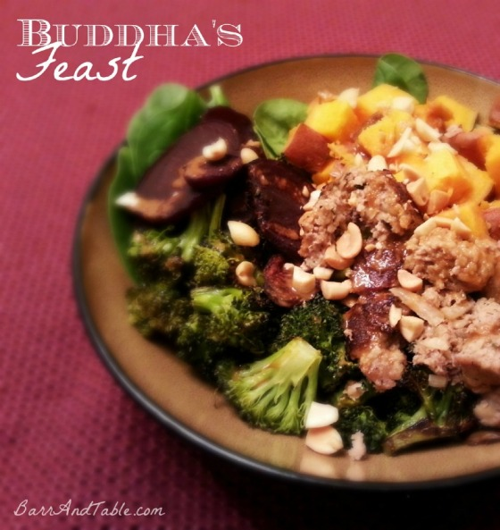 Barr & Table Buddhas Feast Spinach Coconut Oil Roasted Broccoli Sweet Potato Beets Spicy Thai Peanut Sauce Turkey Meatball