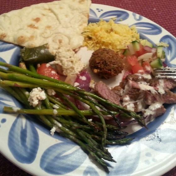 Barr & Table Valentines Day Dinner Shawarma Lamb Asparagus Mediterranean Baba Ghanoush Lemon Rice Naan Falafel