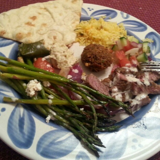 Barr & Table Valentines Day Dinner Shawarma Lamb Asparagus Mediterranean Baba Ghanoush Lemon Rice Naan Falafel