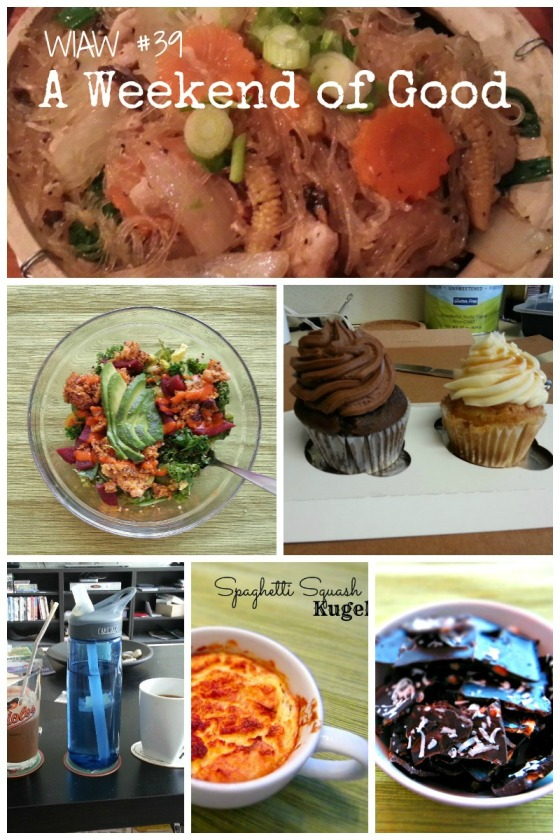 Barr & Table What I Ate Wednesday WIAW Thai Arroy Powerbowl Midnite Cupcake Confections Spaghetti Squash Kugel Shakeology Chocolate Peanut Butter Perfect Fit Protein Bark Lamplighter Coffee Relay Foods