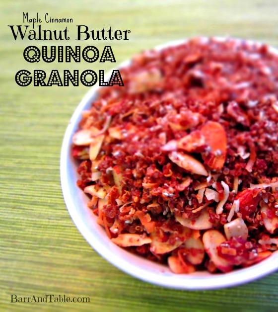 Maple Cinnamon Walnut Butter Quinoa Granola Barr & Table