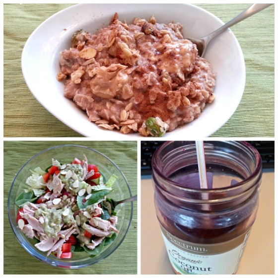Barr & Table What I Ate Wednesday WIAW Micheles Granola Pistachio Lemon Seasonal Fresh Beet Juice Avocado Tomatillo Salsa Protein Oatmeal Proats