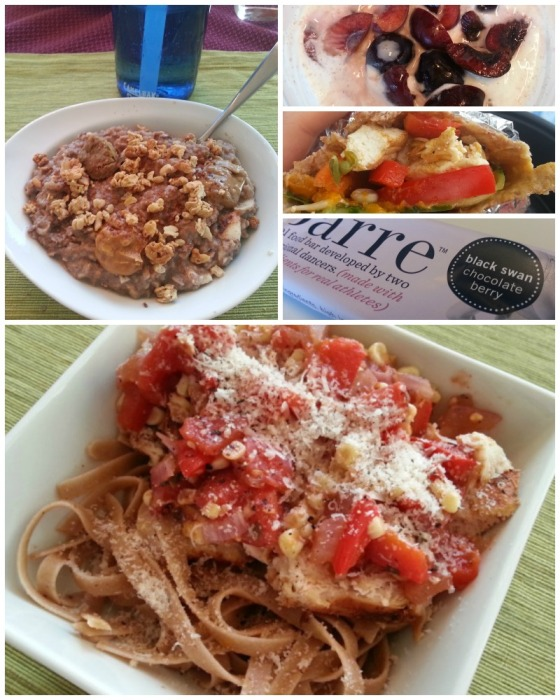 Barr and Table What I Ate Wednesday WIAW Protein Packed TVP Oats Ezekial Tortilla Real Food Barre Cajun Chicken Maras Pasta