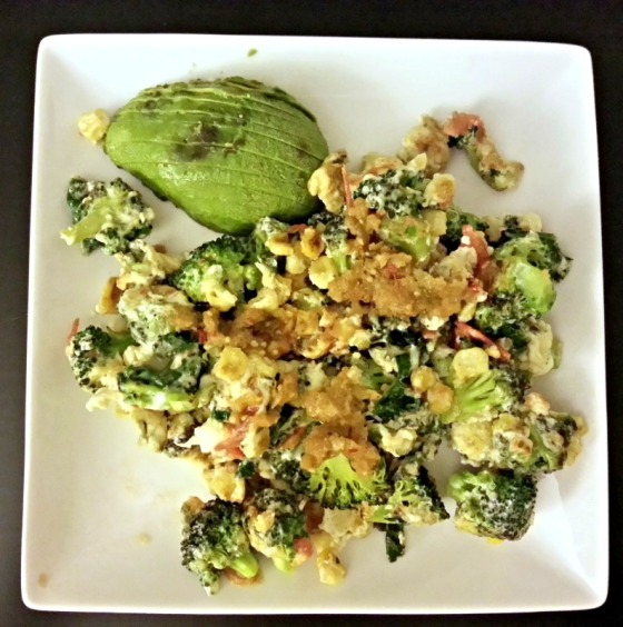Eggs Scramble Broccoli Corn Kale Cheddar Cheese Avocado Tomatillo Salsa