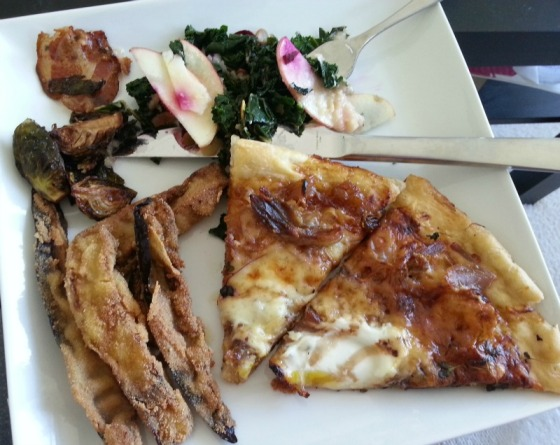 Birroteca Duck Pizza Kale Salad Brussels Sprouts Eggplant Fries