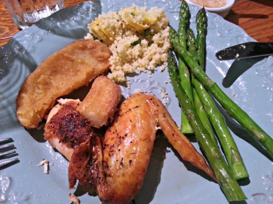 Roast Chicken Asparagus Couscous Royal Farm Western Fries Artichoke