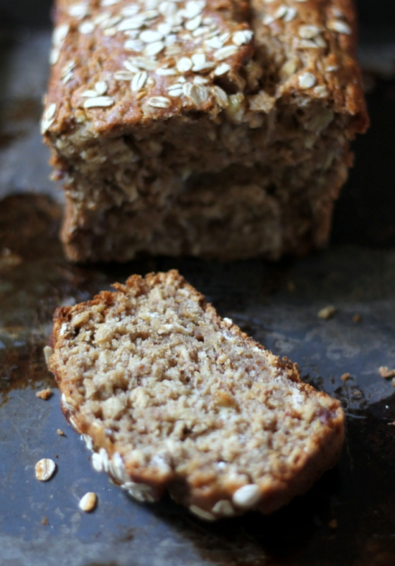 Vegan Whole Wheat Oatmeal Applesauce Banana Bread - Ambitious Kitchen