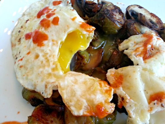 Eggs Yolk Brussels Sprouts Mushrooms Sriracha