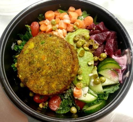 Kale Buffalo Carrots Beets Avocado Dr Praegers California Veggie Burger Cucumber Tomato Caesar Crunchy Peas