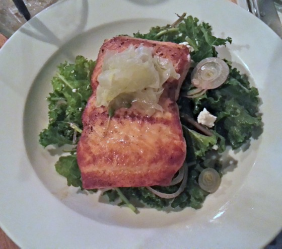 Kale Salmon Lemon Shallot Salad Bluegrass Tavern Baltimore Maryland MD