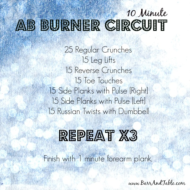 10 Minute Ab Burner Circuit Barr & Table Fitness