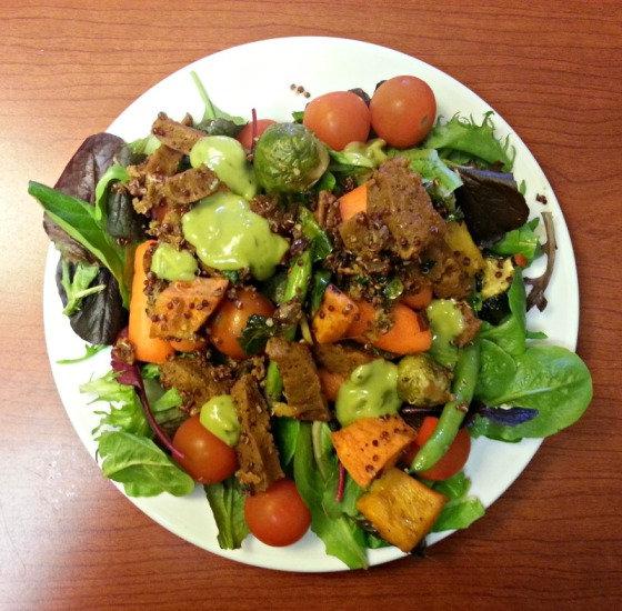 Whole Foods Roasted Butternut Squash Avocado Dressing Brussels Sprouts Chipotle Seitan