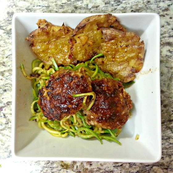 Joy the Baker Baked Turkey Meatballs Zucchini Noodles Pesto Gouda Smashed Potatoes