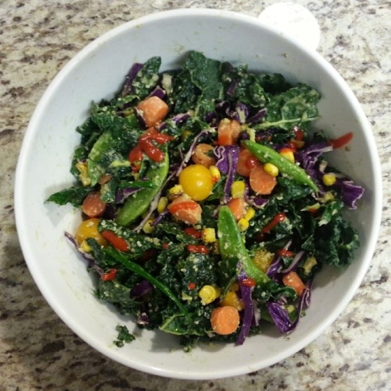 Kale Cabbage Sugar Snap Peas Tomatoes Carrots Roasted Corn Hemp Seed Sriracha Avocado Honey Mustard