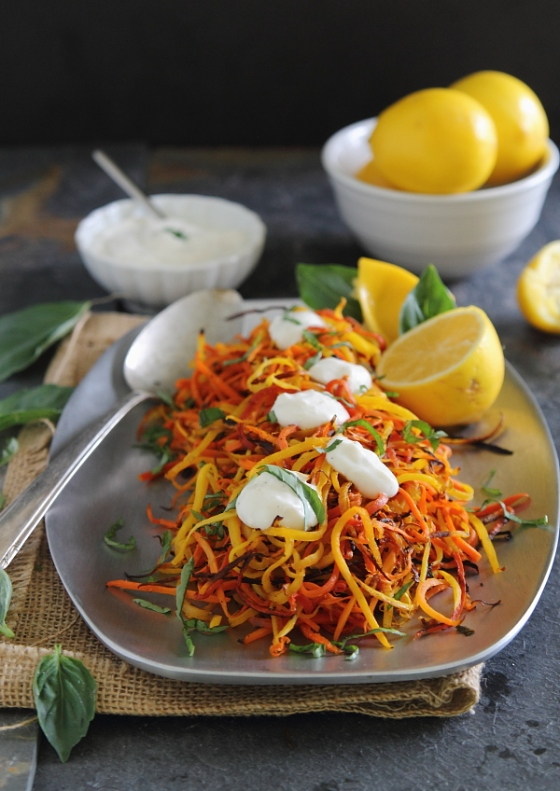 Meyer Lemon Roasted Carrot Strings with Lemon Garlic Sauce Running to the Kitchen