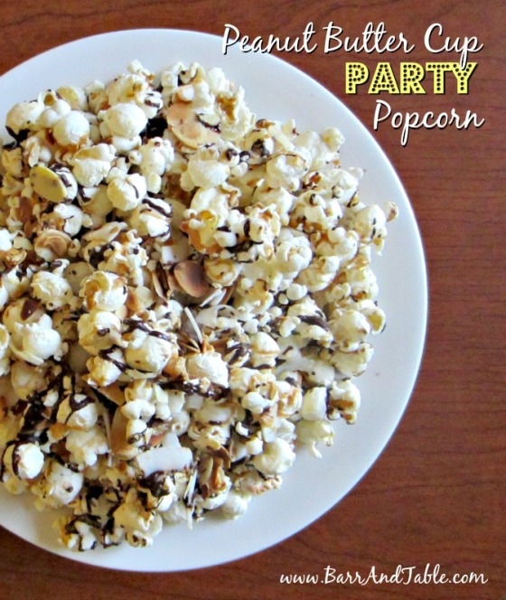 Peanut Butter Cup Party Popcorn Barr and Table