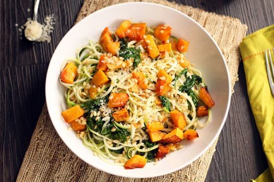 Roasted Butternut Squash Zucchini Pasta with Kale Apricots and Wheatberries Inspiralized