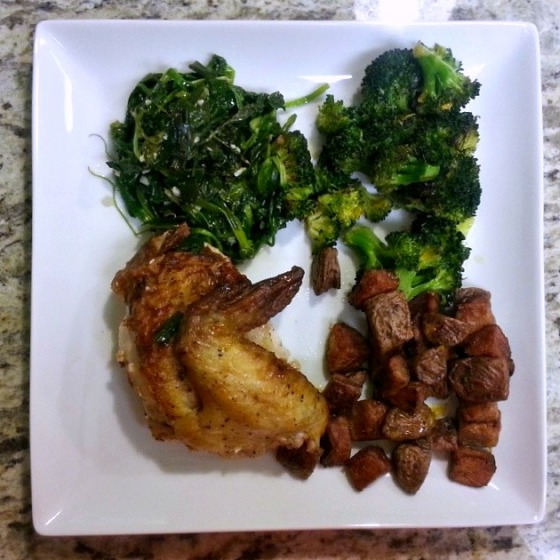 Roasted Chicken Potatoes Broccoli Pea Shoots