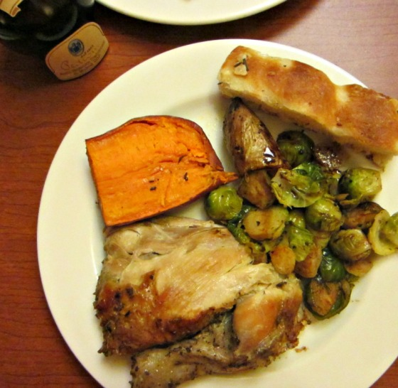 Sunday Dinner RoliRoti Chicken Liguria Foccacia Pedroni Balsamic Vinegar Brussels Sprouts Sweet Potato