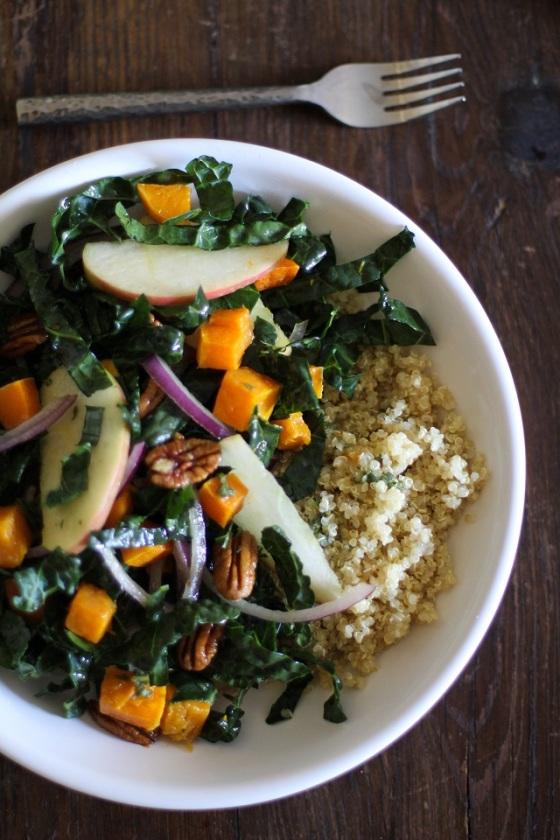 Roasted Butternut Squash Kale Salad Orange Sage Dressing Roasted Root