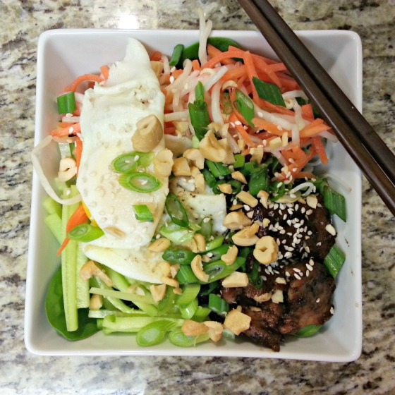 Vietnamese Vermicelli Grilled Pork Bowl Fried Egg