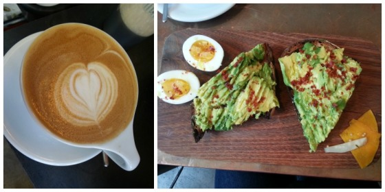 Bartavelle Coffee Avocado Toast Almond Milk Latte