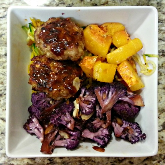 BBQ Baked Turkey Meatballs Purple Cauliflower Butternut Squash Spiralized Zucchini Joy the Baker