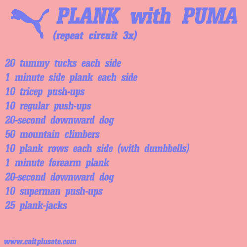 Cait Plus Ate Planking with Puma