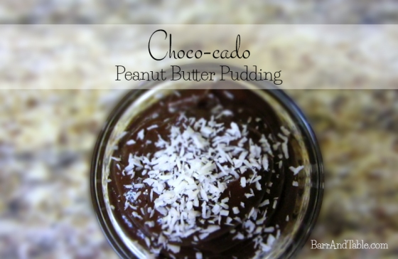 Choco-cado Peanut Butter Pudding Barr and Table