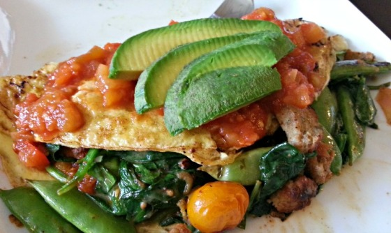 Omelette Spinach Pisto Tomato Sugar Snap Peas Avocado Trader Joes Turkey Meatballs