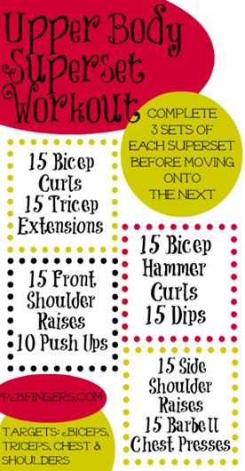 Peanut Butter Fingers Upper Body Superset Workout
