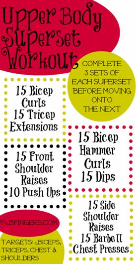Peanut Butter Fingers Upper Body Superset Workout
