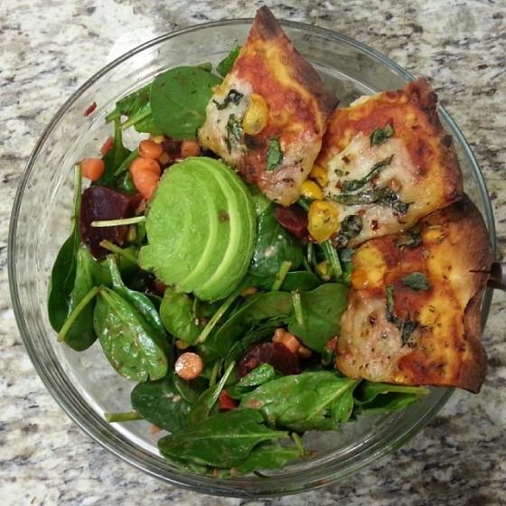 Spinach Salad Cauliflower Crust Pizza